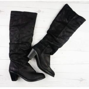 Tall Black Suede Pull On Slouch Knee High Heels 8